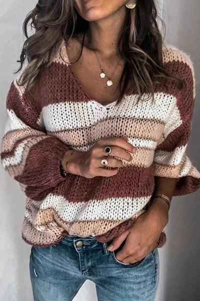 Allovely V Neck Color-Block Sweater(4 colors)