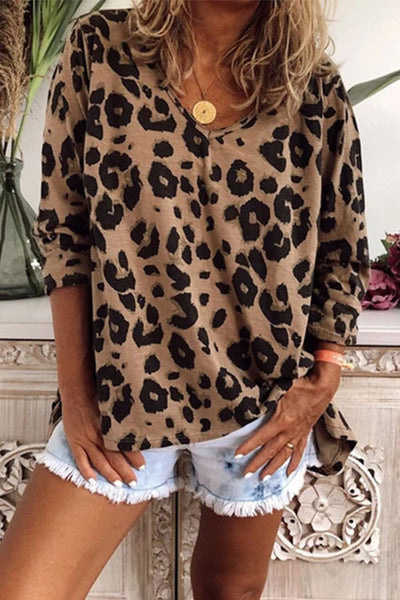 Allovely Leopard V Neck Long Sleeve T-shirt