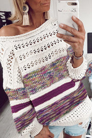 Allovely Contrast Striped Sweater(4 Colors)