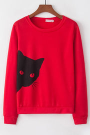 Allovely Cats Printed Long Sleeve T-shirt
