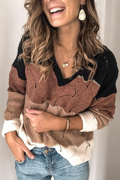 Allovely Stitching Multicolor Openwork Sweater(5 Colors)