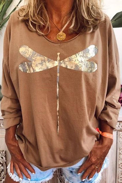 Allovely Dragonfly Printed Long Sleeve T-shirt