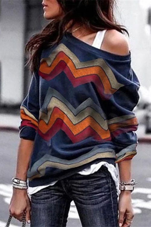 Allovely Cold Shoulder Geometric Print T Shirt
