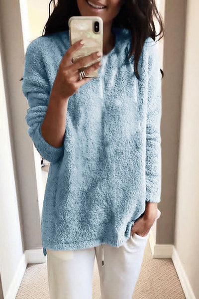 Allovely Round Neck Plush Sweater