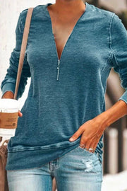 Allovely V-neck Zipper Long Sleeve Sweatshirt