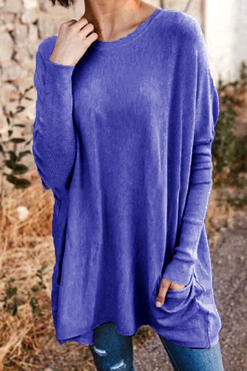Allovely Pocket Loose Long Sleeve T-shirt