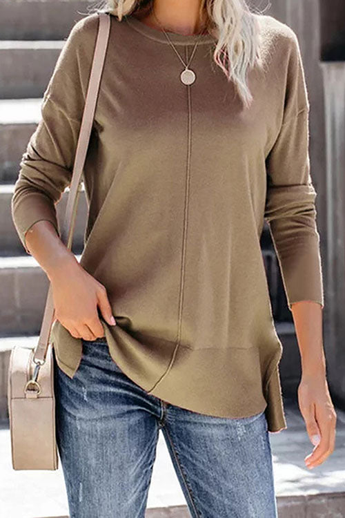 Allovely Solid Color Long Sleeve T-Shirt