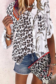 Allovely Leopard Print Pocket Shirt