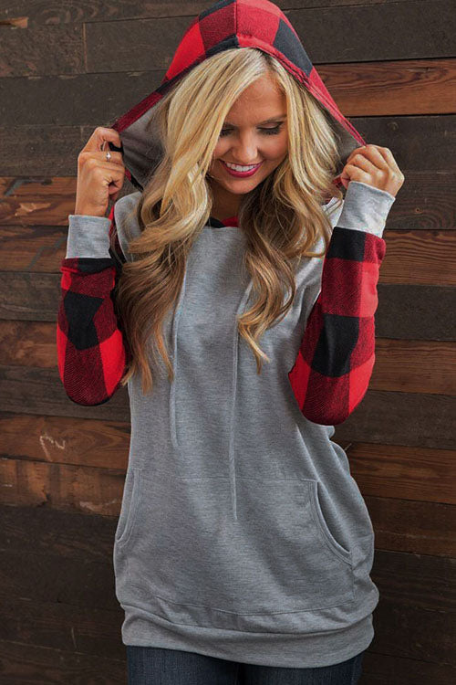 Allovely Christmas Plaid Drawstring Hoodie