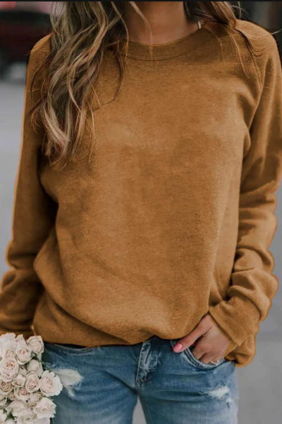 Allovely Long Sleeve Round Neck T-shirt