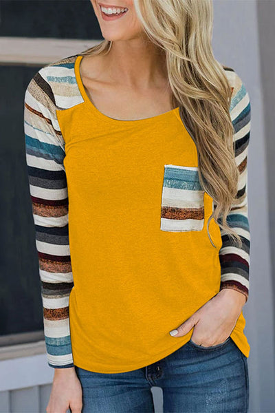 Allovely Colorful Striped Print Stitching T-Shirt