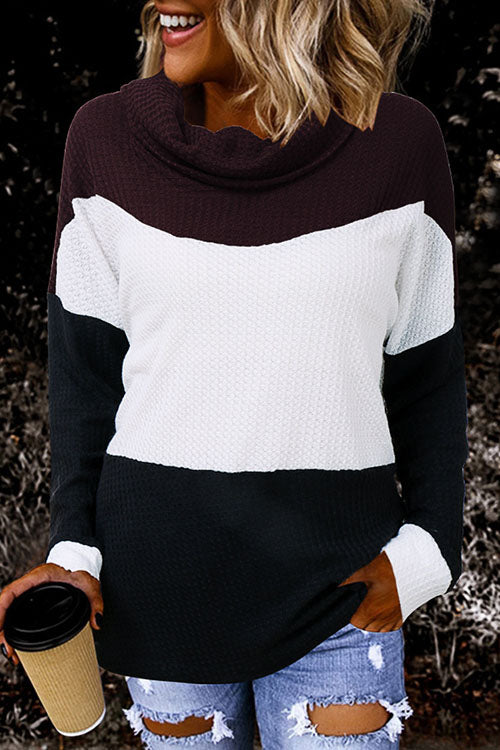 Allovely Waffle High Collar Contrast T-Shirt