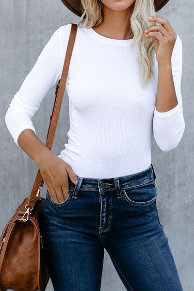 Allovely Round Neck Slim Bottoming Shirt