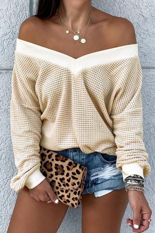 Allovely Off Shoulder Waffle T-shirt