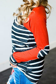 Allovely Striped Print Contrast T-Shirt