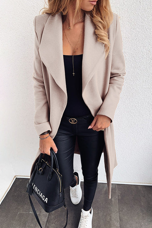 Allovely Solid Color Lapel Strap Coat