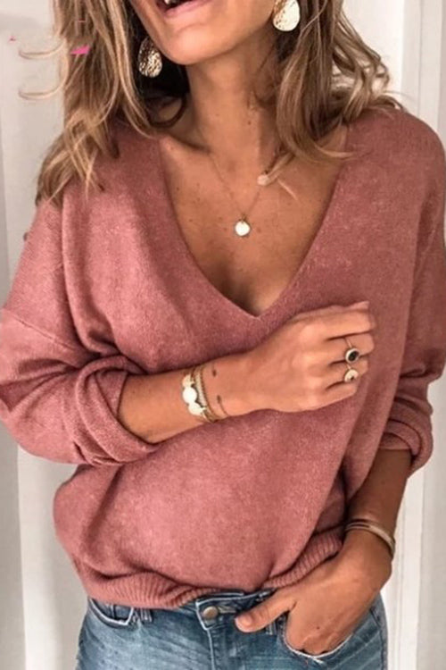 Allovely V-neck Long Sleeve Solid Color Sweater