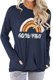 Allovely Rainbow GOOD VIBES Printed T-shirt