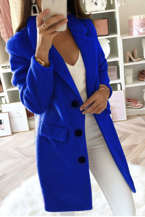 Allovely Long Lapel Warm Wool Coat