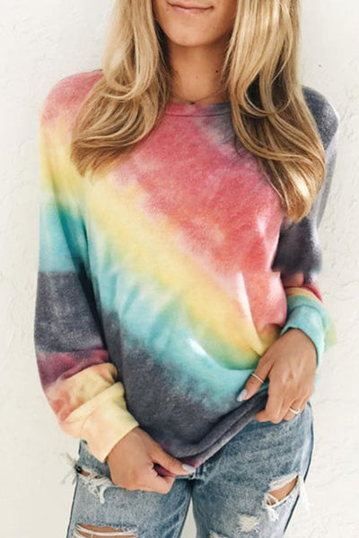 Allovely Gradient Crew Neck Long Sleeve T-shirt