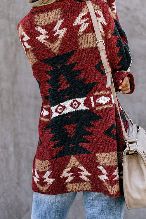 Allovely Christmas Knit Pocket Coat