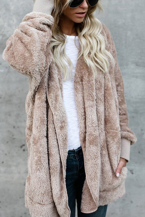 Allovely Plush Pocket Solid Color Coat