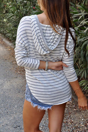 Allovely V Neck Striped Hooded T-Shirt