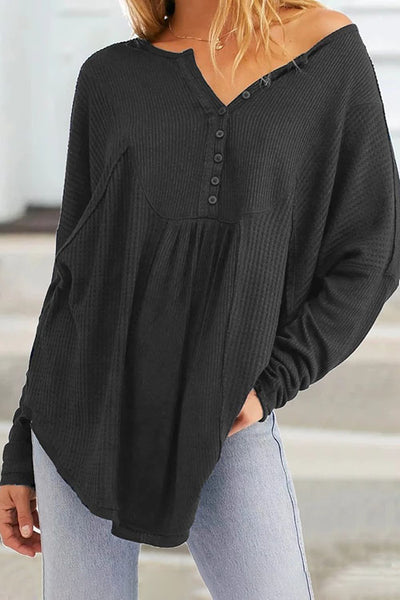 Allovely V Neck Button Loose T-Shirt