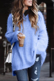 Allovely Solid Color Sweater With Irregular Hem