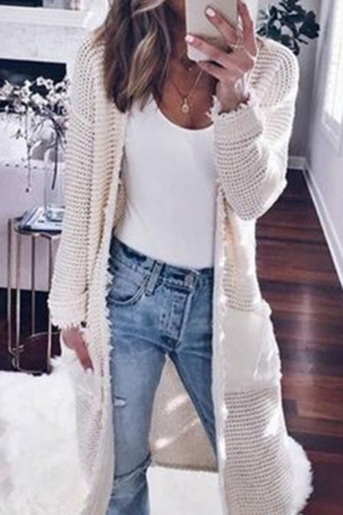 Allovely Solid Color Long Sleeve Casual Knitted Coat