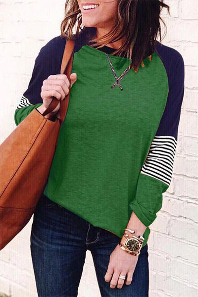 Allovely Stripe Print Color Block Stitching T-shirt