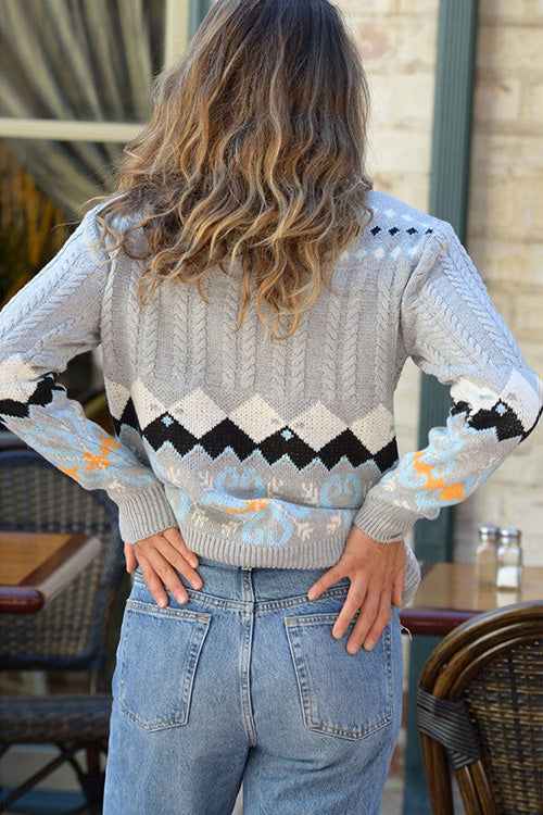 Allovely Geometric Pattern Pullover Sweater