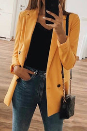 Allovely Solid Color Long Sleeve Suit Jacket