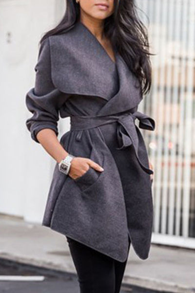 Allovely Mid-length Belt V-neck Coat