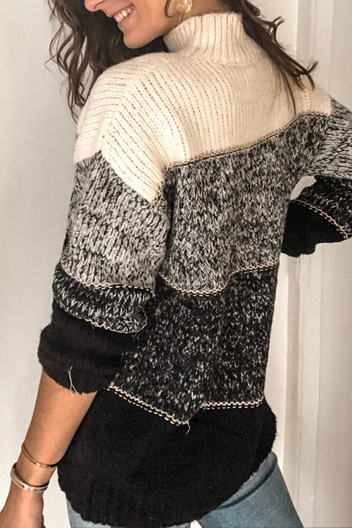 Allovely Inter Color Stitching Sweater