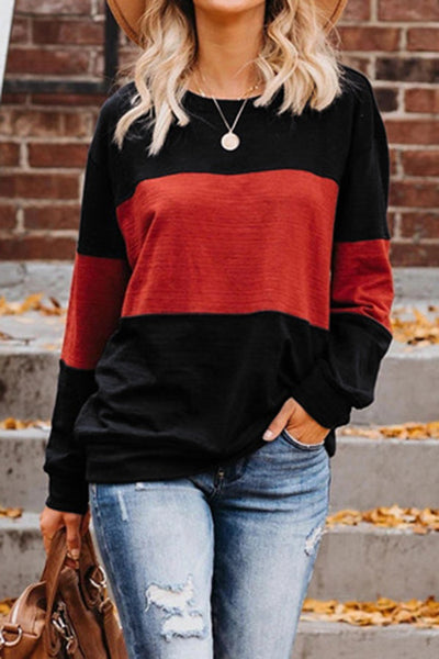 Allovely Contrast Round Neck T-Shirt