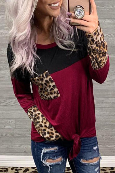 Allovely Leopard Stitching T-Shirt