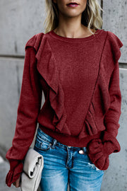 Allovely Ruffled Trumpet Sleeve Sweater