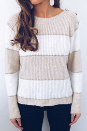 Allovely Shoulder Button Stitching Sweater