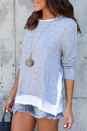 Allovely Solid Color Fake Two-Piece T-Shirt