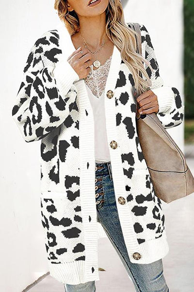 Allovely Leopard Lantern Sleeve Sweater Jacket