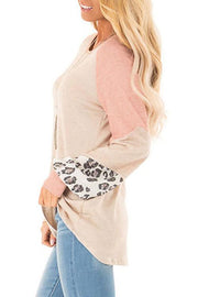 Allovely Leopard Mosaic Lantern Sleeve T-shirt