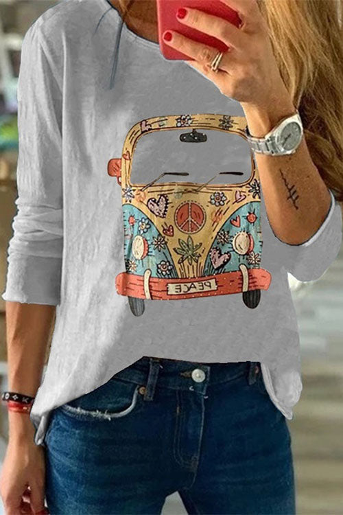 Allovely Color Bus Print T-Shirt