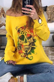 Allovely Skull Print O-neck Long Sleeve Sweatshirt