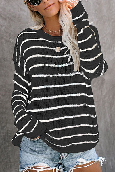 Allovely Long Sleeve Striped Loose Sweater