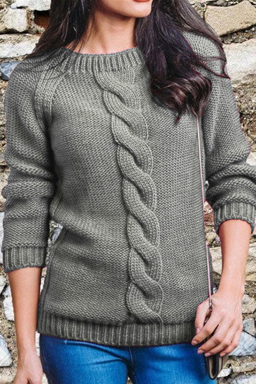 Allovely Open Back Twisted Knit Sweater