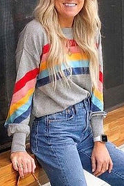 Allovely Rainbow Stripes Sweatshirt