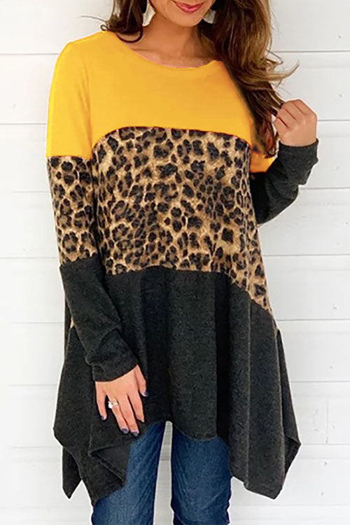 Allovely Leopard Stitching Irregular T-Shirt