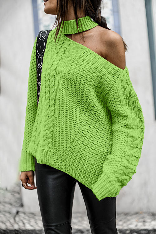 Allovely Cold Shoulder Halter Knit Sweater