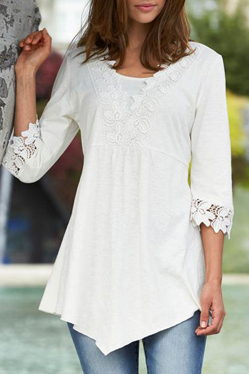 Allovely Lace Stitching Mid Sleeve T-Shirt